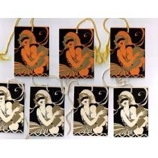 Bridge Tally Cards 7 Art Deco Valentines-Halloween Orange-Gold-Black 1920's, 1930's