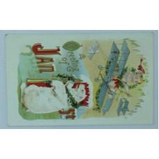 Christmas New Year Greeting Card 1916 Flying Child over Polar Bear