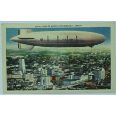 """Aerial View of Akron With Dirigible """"Akron"""" 1947"""